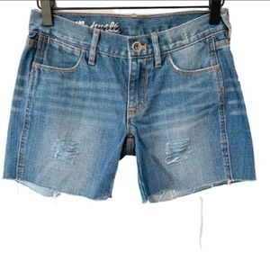"MADEWELL 5"" Distressed Frayed Hem Denim Shorts 24"